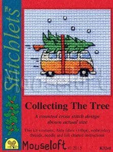 Mouseloft Camper Van Collecting the Tree Card Christmas Stitchlets cross stitch kit